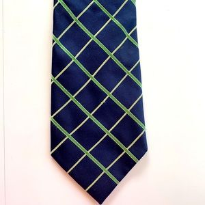 Nautica Navy Blue Tie Green Diamond Pattern
